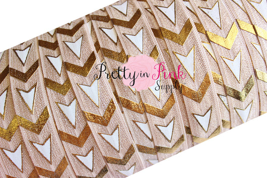 Light Toffee/White/Gold Chevron and Arrows Metallic Print Elastic - Pretty in Pink Supply