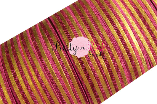 Burgundy with Gold Metallic Stripes Elastic - Pretty in Pink Supply