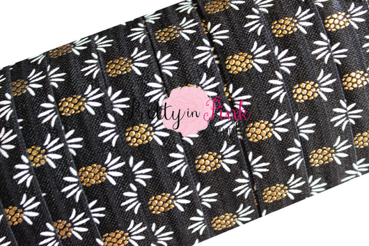 Black Gold/White Metallic Pineapple Print Elastic - Pretty in Pink Supply