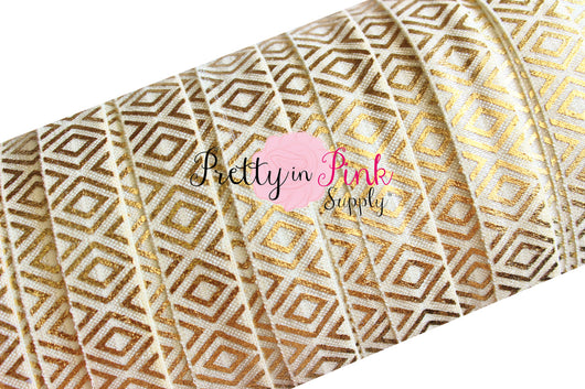 Ivory/Gold Metallic Tribal Print Elastic - Pretty in Pink Supply