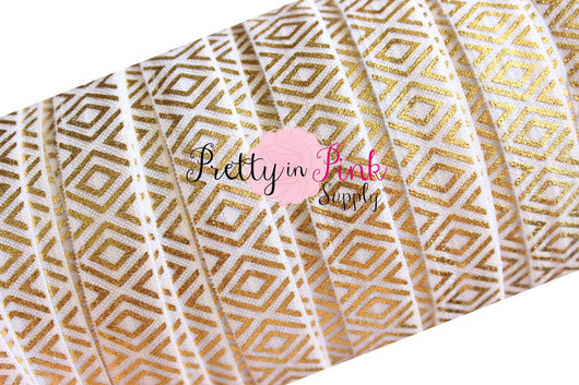 White Gold Tribal Metallic Print Elastic - Pretty in Pink Supply