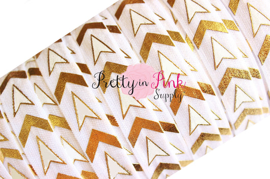 White/Gold Chevron and Arrows Metallic Print Elastic - Pretty in Pink Supply