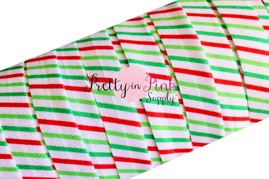 Christmas Stripe Print Elastic - Pretty in Pink Supply