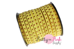 Yellow Faux Suede Gold Studded Cord - Pretty in Pink Supply
