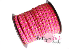 Dark Pink Faux Suede Gold Studded Cord - Pretty in Pink Supply