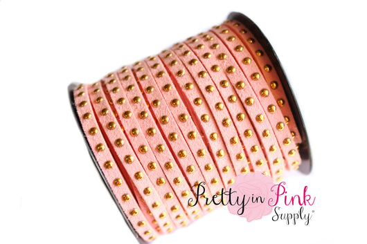 Light Pink Faux Suede Gold Studded Cord - Pretty in Pink Supply