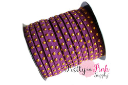 Dark Purple Faux Suede Gold Studded Cord - Pretty in Pink Supply