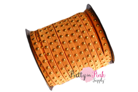 Orange Faux Suede Gold Studded Cord - Pretty in Pink Supply