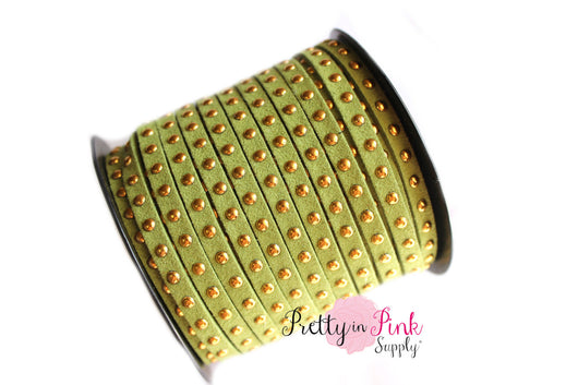 Olive Green Faux Suede Gold Studded Cord - Pretty in Pink Supply