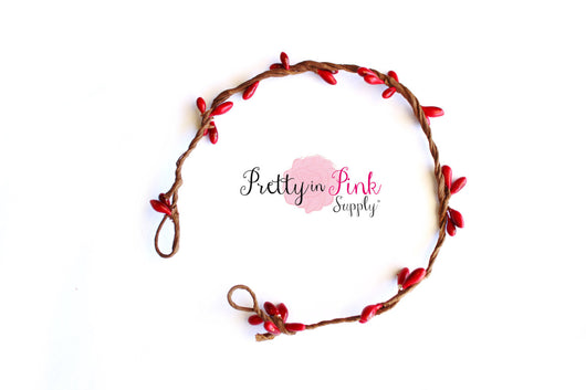 NEWBORN Red/Beaded Twig Crown Wreath - Pretty in Pink Supply