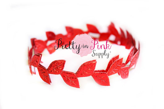 Metallic RED Leaf Trim - Pretty in Pink Supply