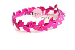 Metallic HOT PINK Leaf Trim - Pretty in Pink Supply