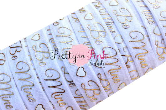 White with Gold Metallic Be Mine Heart Print Elastic - Pretty in Pink Supply