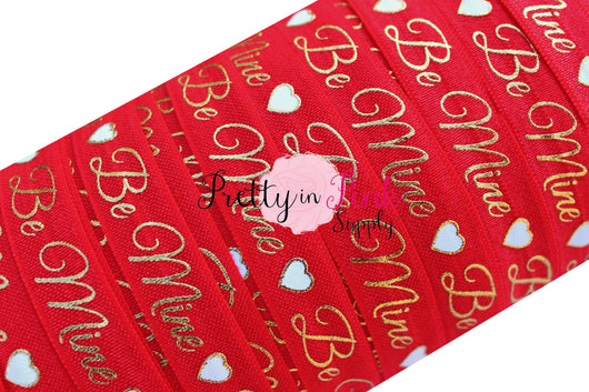 Red with Gold Metallic BE MINE Heart Print Elastic - Pretty in Pink Supply