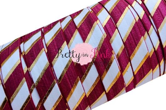 Burgundy, White and Gold WIDE STRIPE Metallic Print Elastic - Pretty in Pink Supply
