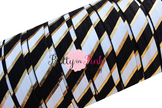 Black, White and Gold WIDE STRIPE Metallic Print Elastic - Pretty in Pink Supply