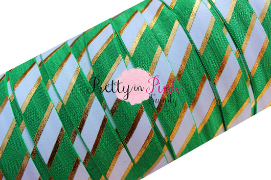 Emerald, White and Gold WIDE STRIPE Metallic Print Elastic - Pretty in Pink Supply