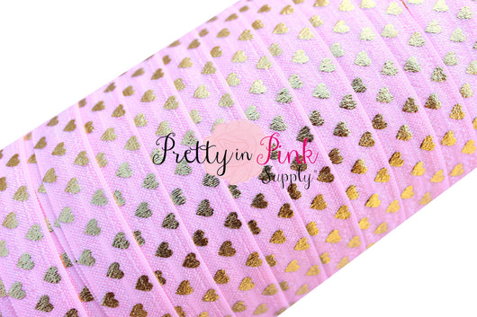 Light Pink with Gold Polka Hearts Metallic Print Elastic - Pretty in Pink Supply