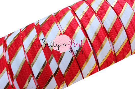 Red, White and Gold WIDE STRIPE Metallic Print Elastic - Pretty in Pink Supply