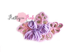 Lavender SEQUINCED Leaf Chiffon Flower Applique Trim - Pretty in Pink Supply