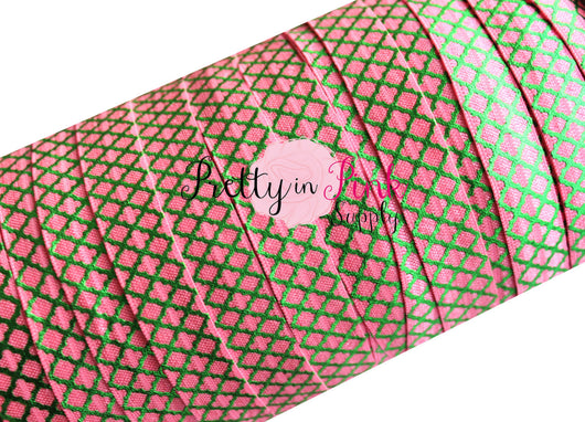 Barbie Pink with Green Quatrefoil Metallic Print Elastic - Pretty in Pink Supply