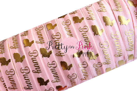 Light Pink Cursive Bunny Gold Metallic Print Elastic - Pretty in Pink Supply