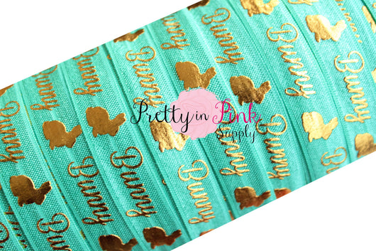 Tropic Aqua Cursive Bunny Gold Metallic Print Elastic - Pretty in Pink Supply