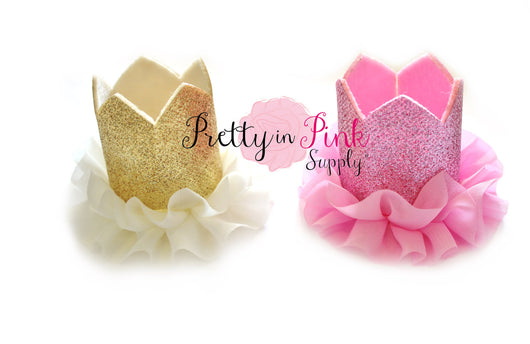 Glitter Felt Crown with Chiffon Ruffle - Pretty in Pink Supply