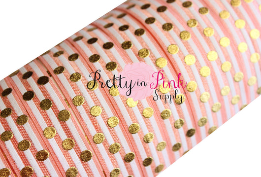 Peach and White Stripe Gold Metallic Dot Print - Pretty in Pink Supply