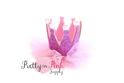Pink Glitter Felt Crown with Tulle - Pretty in Pink Supply