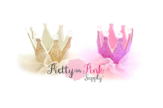Glitter Felt Crown with Tulle - Pretty in Pink Supply