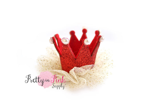 Red Glitter PEARL Felt Crown with Sparkle Tulle - Pretty in Pink Supply