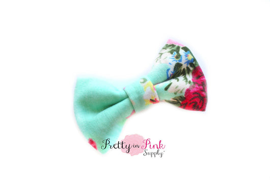 Mint Floral Soft Stretch Bow - Pretty in Pink Supply