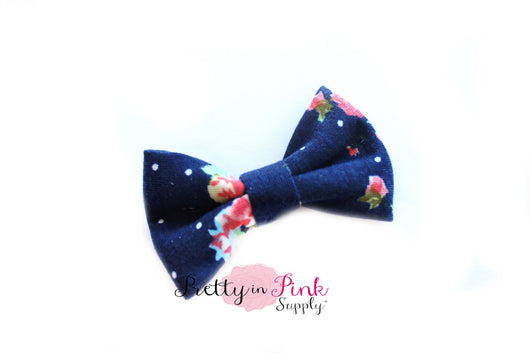 Navy Floral Soft Stretch Bow - Pretty in Pink Supply