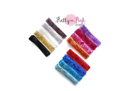 Glitter Ribbon Lined Hair Clips - Pretty in Pink Supply