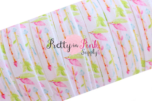 Pastel Arrows and Feathers Elastic Print Elastic - Pretty in Pink Supply