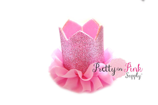 Pink Glitter Felt Crown with Chiffon Ruffle - Pretty in Pink Supply