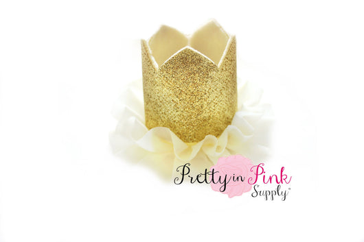 Gold Glitter Felt Crown with Ivory Chiffon Ruffle - Pretty in Pink Supply