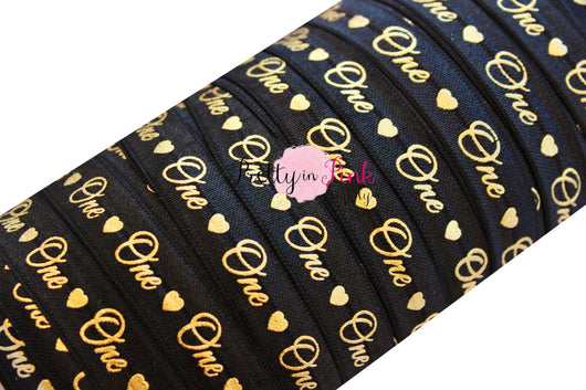 Black Cursive One/Heart Gold Metallic Print Elastic - Pretty in Pink Supply