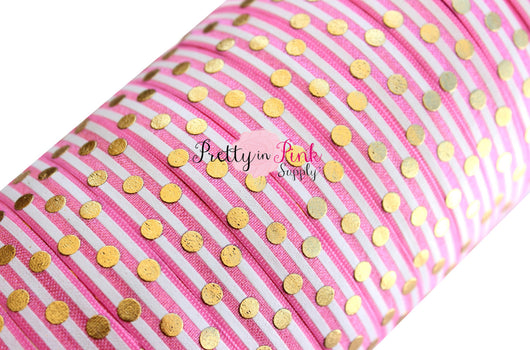 Barbie Pink and White Stripe Gold Metallic Dot Print - Pretty in Pink Supply