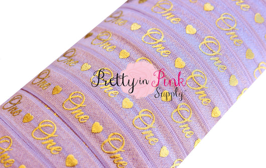 Lavender Cursive One/Heart Gold Metallic Print Elastic - Pretty in Pink Supply