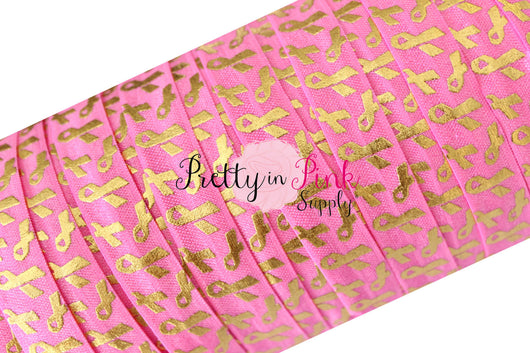 Bubble Pink with Gold Metallic Breast Cancer Awareness Ribbons Print Elastic - Pretty in Pink Supply