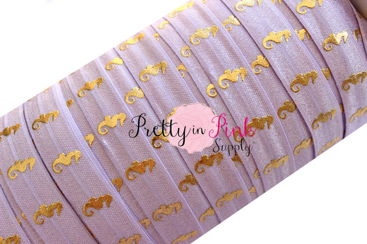 Lilac Gold Metallic Sea Horse Print Elastic - Pretty in Pink Supply
