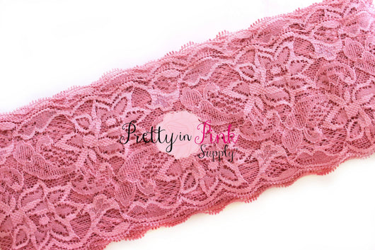 Dusty Rose Lace Elastic 3.25