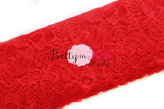 Red Lace Elastic 3.25