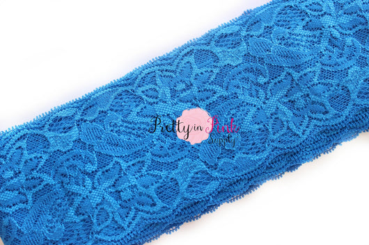 Royal Blue Lace Elastic 3.25