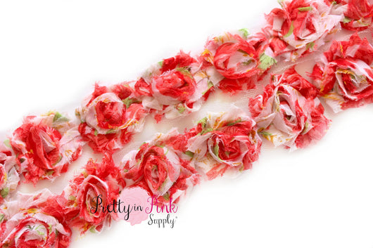 Petite Red Rose Shabby Rose Trim - Pretty in Pink Supply