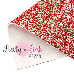 Christmas Double Sided | Chunky Glitter/Velvet Fabric Sheet