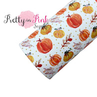 Pumpkin Gathering Faux Leather Fabric Sheet