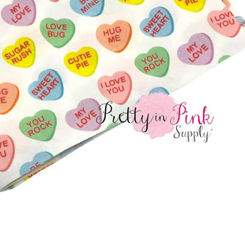 Candy Hearts | 100% Cotton Fabric - Pretty in Pink Supply